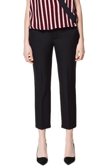 Light Wool Trousers - pattern: plain; pocket detail: small back pockets, pockets at the sides; waist: mid/regular rise; predominant colour: black; occasions: casual, evening, work; length: ankle length; fibres: polyester/polyamide - mix; waist detail: feature waist detail; fit: straight leg; pattern type: fabric; texture group: other - light to midweight; style: standard; season: s/s 2013