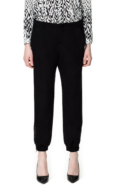 Trousers With Elastic Hem - length: standard; pattern: plain; style: tracksuit pants; waist detail: elasticated waist; waist: mid/regular rise; predominant colour: black; occasions: casual, evening, work; fibres: polyester/polyamide - 100%; fit: slim leg; pattern type: fabric; texture group: other - light to midweight; season: s/s 2013
