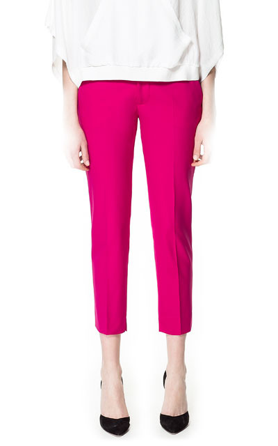 Cool Wool Trousers - pattern: plain; pocket detail: small back pockets, pockets at the sides; waist: mid/regular rise; predominant colour: hot pink; occasions: casual, evening, work, occasion, holiday; length: calf length; fibres: polyester/polyamide - mix; waist detail: feature waist detail; fit: slim leg; pattern type: fabric; texture group: woven light midweight; style: standard; season: s/s 2013