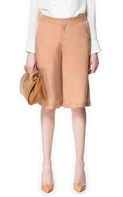 Culotte Trousers With Waistband - pattern: plain; waist: mid/regular rise; predominant colour: camel; occasions: casual, creative work; fibres: polyester/polyamide - mix; texture group: cotton feel fabrics; pattern type: fabric; season: s/s 2016; style: culotte; length: on the knee; fit: baggy