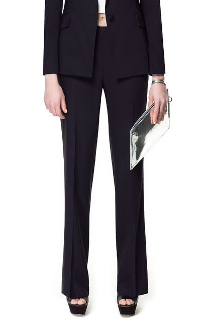 Palazzo Trousers - length: standard; pattern: plain; waist: mid/regular rise; predominant colour: black; occasions: casual, work; fibres: polyester/polyamide - mix; fit: straight leg; pattern type: fabric; texture group: other - light to midweight; style: standard; season: s/s 2013