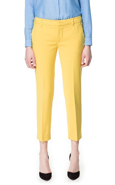 Straight Cut Trousers - pattern: plain; pocket detail: small back pockets, pockets at the sides; waist: mid/regular rise; predominant colour: yellow; occasions: casual, work, occasion, holiday; length: ankle length; fibres: cotton - mix; waist detail: feature waist detail; texture group: cotton feel fabrics; fit: straight leg; pattern type: fabric; style: standard; season: s/s 2013