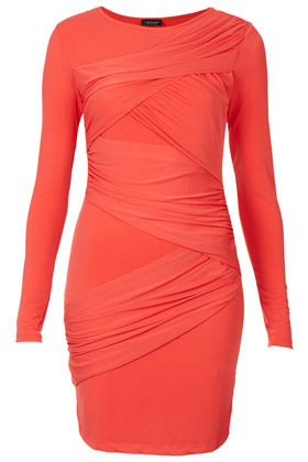Wrap Panel Bodycon Dress - length: mid thigh; neckline: round neck; fit: tight; pattern: plain; style: bodycon; waist detail: flattering waist detail; bust detail: subtle bust detail; predominant colour: coral; occasions: casual, evening, occasion; fibres: polyester/polyamide - stretch; hip detail: ruching/gathering at hip; sleeve length: long sleeve; sleeve style: standard; texture group: jersey - clingy; pattern type: fabric; season: s/s 2013