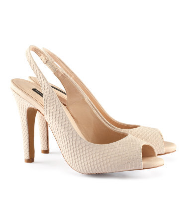 Suede Slingbacks - predominant colour: stone; occasions: evening, work, occasion; material: suede; heel height: high; heel: stiletto; toe: open toe/peeptoe; style: slingbacks; finish: plain; pattern: animal print; season: s/s 2013