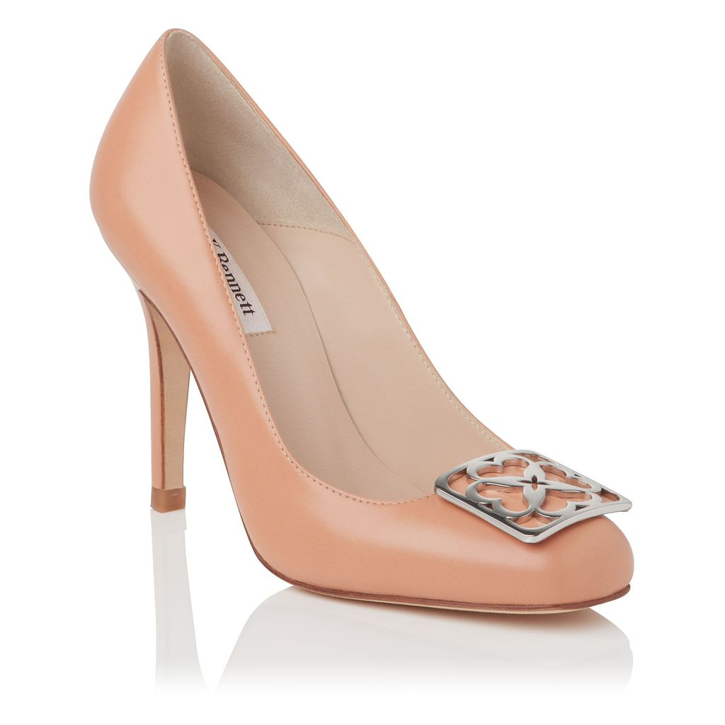 Lovells Closed Court, Blush - predominant colour: nude; occasions: evening, work, occasion; material: leather; heel height: high; embellishment: buckles; heel: stiletto; toe: round toe; style: courts; finish: plain; pattern: plain; season: s/s 2013