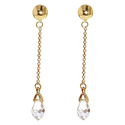 Swarovski Crystal Chain Drop Clip On Earrings - predominant colour: gold; occasions: evening, occasion; style: drop; length: long; size: large/oversized; material: chain/metal; fastening: pierced; trends: metallics; finish: metallic; embellishment: crystals/glass; season: s/s 2013