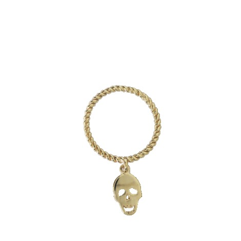 Skull Ring In Gold - predominant colour: gold; occasions: casual, evening, work, occasion; style: band; size: standard; material: chain/metal; finish: metallic; embellishment: chain/metal; season: s/s 2013