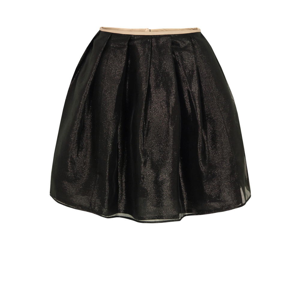 Xoxo Black Skirt - length: mid thigh; pattern: plain; style: tulip; fit: loose/voluminous; waist: mid/regular rise; predominant colour: black; occasions: casual, evening, occasion; fibres: polyester/polyamide - mix; hip detail: structured pleats at hip; trends: metallics, volume; pattern type: fabric; texture group: net/tulle; season: s/s 2013