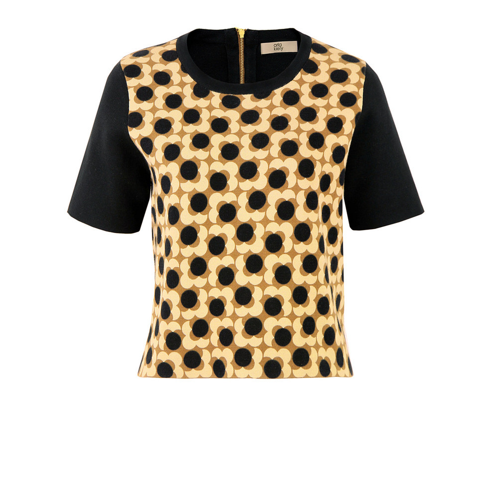 Fsm244 Truffle Flower Spot Top - neckline: round neck; back detail: contrast pattern/fabric at back; predominant colour: black; occasions: casual, work; length: standard; style: top; fibres: cotton - 100%; fit: straight cut; sleeve length: short sleeve; sleeve style: standard; texture group: crepes; pattern type: fabric; pattern size: standard; pattern: florals; season: s/s 2013