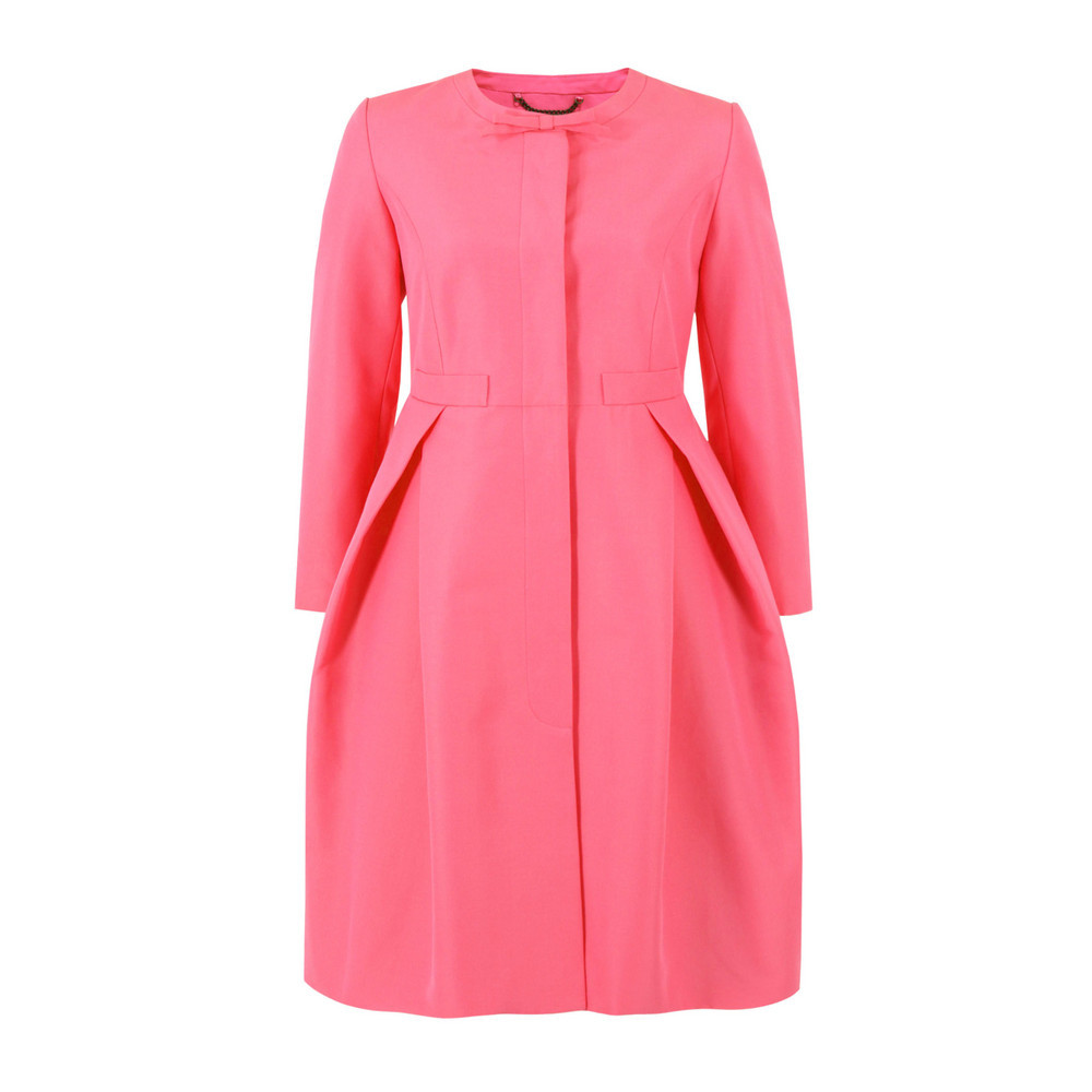 Otm822 Solid Ottoman Peony Coat - pattern: plain; collar: round collar/collarless; style: single breasted; hip detail: flared at hip; length: mid thigh; predominant colour: pink; occasions: casual, evening, work, occasion; fit: tailored/fitted; fibres: cotton - mix; waist detail: fitted waist; sleeve length: 3/4 length; sleeve style: standard; texture group: structured shiny - satin/tafetta/silk etc.; collar break: high; pattern type: fabric; season: s/s 2013