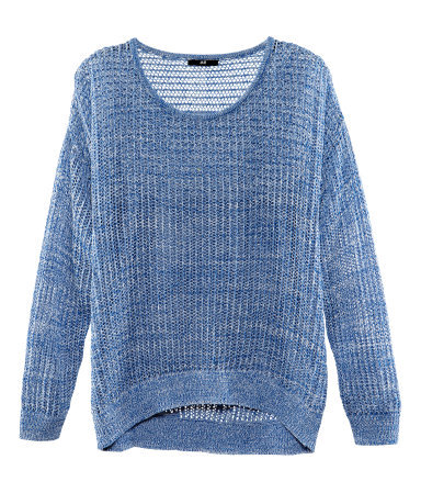 Jumper - neckline: round neck; pattern: plain; bust detail: sheer at bust; style: standard; predominant colour: denim; occasions: casual; length: standard; fibres: cotton - 100%; fit: loose; back detail: longer hem at back than at front; sleeve length: long sleeve; sleeve style: standard; texture group: knits/crochet; pattern type: fabric; pattern size: light/subtle; season: s/s 2013