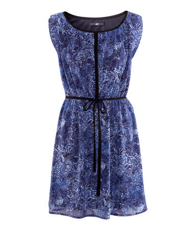 Dress - style: tea dress; length: mid thigh; neckline: round neck; fit: fitted at waist; sleeve style: sleeveless; waist detail: belted waist/tie at waist/drawstring; predominant colour: royal blue; occasions: casual; fibres: polyester/polyamide - 100%; hip detail: subtle/flattering hip detail; sleeve length: sleeveless; texture group: sheer fabrics/chiffon/organza etc.; pattern type: fabric; pattern size: light/subtle; pattern: patterned/print; season: s/s 2013