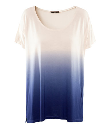 Top - style: t-shirt; pattern: tie dye; predominant colour: white; occasions: casual; length: standard; neckline: scoop; fibres: polyester/polyamide - 100%; fit: loose; sleeve length: short sleeve; sleeve style: standard; pattern type: fabric; texture group: jersey - stretchy/drapey; season: s/s 2013