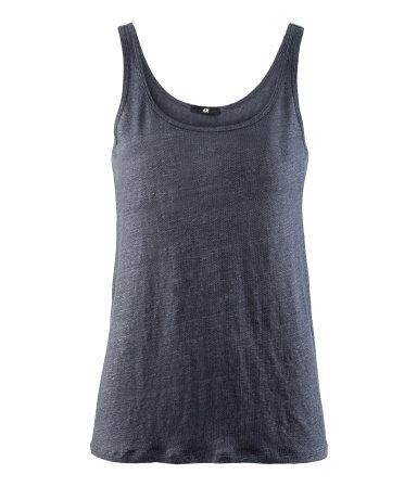 Linen Vest Top - pattern: plain; sleeve style: sleeveless; back detail: cowl/draping/scoop at back; style: vest top; predominant colour: charcoal; occasions: casual; length: standard; neckline: scoop; fibres: linen - 100%; fit: body skimming; sleeve length: sleeveless; texture group: linen; pattern type: fabric; season: s/s 2013