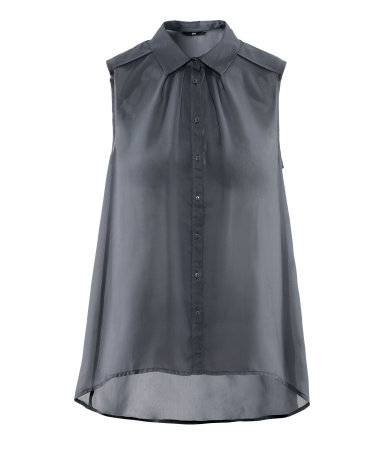 Blouse - neckline: shirt collar/peter pan/zip with opening; pattern: plain; sleeve style: sleeveless; style: blouse; predominant colour: charcoal; occasions: casual, evening, work, holiday; length: standard; fibres: polyester/polyamide - 100%; fit: body skimming; shoulder detail: flat/draping pleats/ruching/gathering at shoulder; back detail: longer hem at back than at front; sleeve length: sleeveless; texture group: sheer fabrics/chiffon/organza etc.; pattern type: fabric; season: s/s 2013