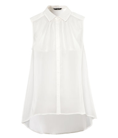 Blouse - neckline: shirt collar/peter pan/zip with opening; pattern: plain; sleeve style: sleeveless; length: below the bottom; style: blouse; bust detail: subtle bust detail; predominant colour: ivory/cream; occasions: casual, evening, work, holiday; fibres: polyester/polyamide - 100%; fit: loose; shoulder detail: subtle shoulder detail; back detail: longer hem at back than at front; sleeve length: sleeveless; texture group: sheer fabrics/chiffon/organza etc.; pattern type: fabric; season: s/s 2013; wardrobe: highlight