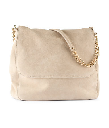 Suede Bag - predominant colour: nude; occasions: casual, creative work; type of pattern: standard; style: shoulder; length: across body/long; size: standard; material: suede; pattern: plain; finish: plain; embellishment: chain/metal; season: s/s 2013