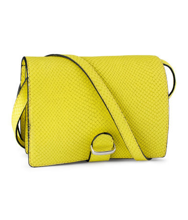Leather Shoulder Bag - predominant colour: yellow; occasions: casual, creative work; type of pattern: small; style: shoulder; length: across body/long; size: small; material: leather; pattern: plain; finish: plain; season: s/s 2013
