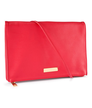 Shoulder Bag - predominant colour: hot pink; occasions: casual, evening, work, occasion, holiday; style: clutch; length: shoulder (tucks under arm); size: standard; material: faux leather; embellishment: studs; pattern: plain; trends: fluorescent; finish: plain; season: s/s 2013