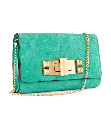 Suede Clutch - predominant colour: mint green; occasions: casual, evening, work, holiday; style: clutch; length: shoulder (tucks under arm); size: small; material: suede; pattern: plain; finish: plain; embellishment: chain/metal; season: s/s 2013