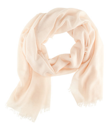 Cashmere Scarf - predominant colour: ivory/cream; occasions: casual, work, occasion; type of pattern: standard; style: regular; size: standard; material: knits; embellishment: fringing; pattern: plain; season: s/s 2013