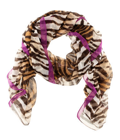 Scarf - occasions: casual, evening, work, occasion; predominant colour: multicoloured; type of pattern: standard; style: regular; size: standard; material: fabric; pattern: animal print; season: s/s 2013; multicoloured: multicoloured