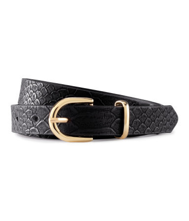 Belt - predominant colour: black; occasions: casual, evening, work; type of pattern: light; style: classic; size: standard; worn on: waist; material: suede; pattern: animal print; finish: plain; season: s/s 2013