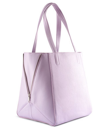 Bag - predominant colour: lilac; occasions: casual, work; style: tote; length: handle; size: standard; material: faux leather; embellishment: zips; pattern: plain; finish: plain; season: s/s 2013