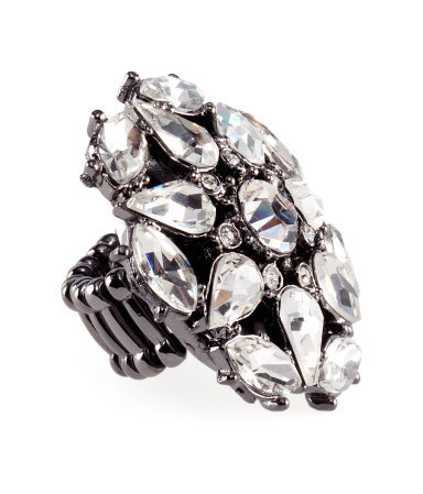 Ring - predominant colour: charcoal; occasions: evening, occasion; style: cocktail; size: large/oversized; material: chain/metal; trends: metallics; finish: metallic; embellishment: crystals/glass; season: s/s 2013