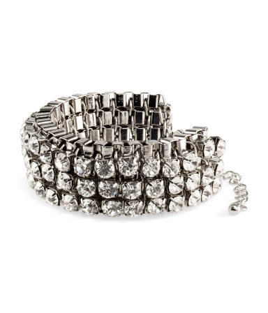 Bracelet - predominant colour: silver; occasions: evening, work, occasion; style: bangle/standard; size: standard; material: chain/metal; trends: metallics; finish: metallic; embellishment: crystals/glass; season: s/s 2013
