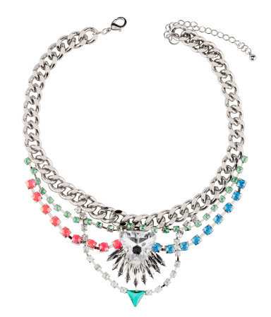 Necklace - predominant colour: silver; occasions: evening, occasion, holiday; length: mid; size: large/oversized; material: chain/metal; finish: plain; embellishment: crystals/glass; style: bib/statement; season: s/s 2013