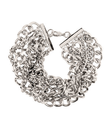 Bracelet - predominant colour: silver; occasions: casual, evening, work, occasion, holiday; style: chain; size: large/oversized; material: chain/metal; trends: metallics; finish: metallic; embellishment: chain/metal; season: s/s 2013