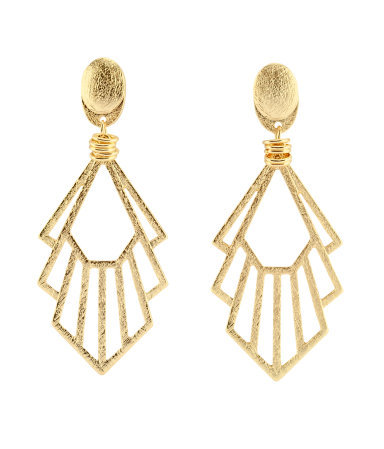 Earrings - predominant colour: gold; occasions: evening, work, occasion; style: drop; length: long; size: standard; material: chain/metal; fastening: pierced; trends: metallics; finish: metallic; embellishment: chain/metal; season: s/s 2013