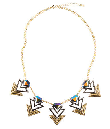 Necklace - predominant colour: gold; occasions: evening, work, occasion, holiday; length: mid; size: standard; material: chain/metal; finish: metallic; embellishment: beading; style: bib/statement; season: s/s 2013