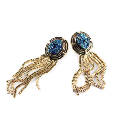 Earrings - predominant colour: gold; occasions: casual, evening, occasion; style: drop; length: long; size: standard; material: chain/metal; fastening: pierced; trends: metallics; finish: metallic; embellishment: crystals/glass; season: s/s 2013