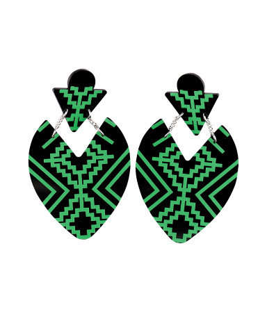 Earrings - predominant colour: black; occasions: casual, evening, work, occasion, holiday; style: drop; length: mid; size: large/oversized; material: plastic/rubber; fastening: pierced; trends: fluorescent, modern geometrics; finish: fluorescent; season: s/s 2013