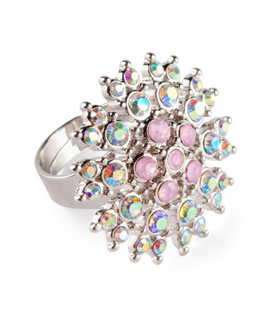 Ring - predominant colour: silver; occasions: casual, evening, work, occasion, holiday; style: cocktail; size: large/oversized; material: chain/metal; trends: metallics; finish: metallic; embellishment: crystals/glass; season: s/s 2013