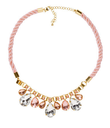 Necklace - predominant colour: blush; occasions: evening, occasion, holiday; length: short; size: large/oversized; material: fabric/cotton; finish: metallic; embellishment: crystals/glass; style: bib/statement; season: s/s 2013