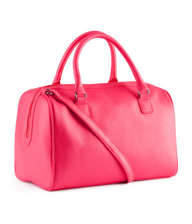 Bag - predominant colour: hot pink; occasions: casual, creative work; type of pattern: standard; style: bowling; length: handle; size: standard; material: faux leather; embellishment: zips; pattern: plain; finish: fluorescent; season: s/s 2013