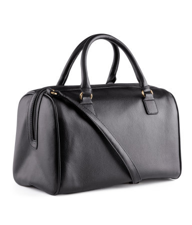 Bag - predominant colour: black; occasions: casual, work, holiday; type of pattern: standard; style: bowling; length: handle; size: standard; material: faux leather; pattern: plain; finish: plain; season: s/s 2013