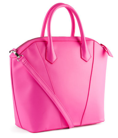 Bag - predominant colour: hot pink; occasions: casual, work, holiday; type of pattern: standard; style: tote; length: handle; size: standard; material: faux leather; embellishment: zips; pattern: plain; trends: fluorescent; finish: plain; season: s/s 2013