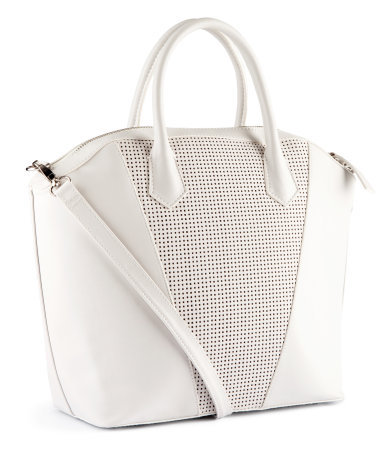 Bag - predominant colour: ivory/cream; occasions: casual, creative work; type of pattern: standard; style: tote; length: handle; size: oversized; material: faux leather; pattern: plain; finish: plain; season: s/s 2013