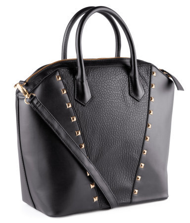 Bag - predominant colour: black; occasions: casual, creative work; type of pattern: small; style: tote; length: handle; size: standard; material: faux leather; embellishment: studs; pattern: plain; finish: plain; season: s/s 2013