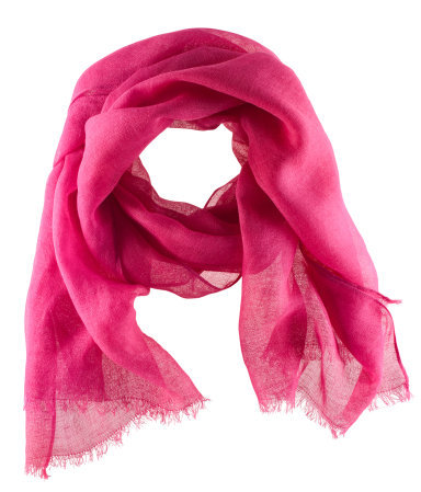 Scarf - predominant colour: hot pink; occasions: casual, evening, work, holiday; type of pattern: standard; style: regular; size: standard; material: fabric; embellishment: fringing; pattern: plain; trends: fluorescent; season: s/s 2013