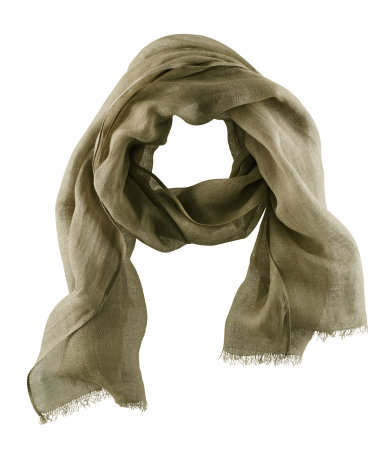 Scarf - predominant colour: khaki; occasions: casual, evening, work; type of pattern: standard; style: regular; size: standard; material: fabric; embellishment: fringing; pattern: plain; season: s/s 2013