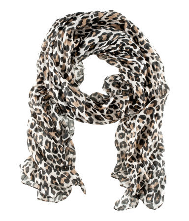 Scarf - predominant colour: black; occasions: casual, evening, work, occasion, holiday; type of pattern: heavy; style: regular; size: standard; material: fabric; pattern: animal print; trends: statement prints; season: s/s 2013