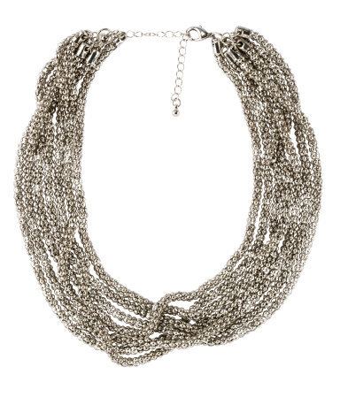Necklace - predominant colour: silver; occasions: evening, occasion; length: short; size: large/oversized; material: chain/metal; finish: metallic; embellishment: chain/metal; style: bib/statement; season: s/s 2013