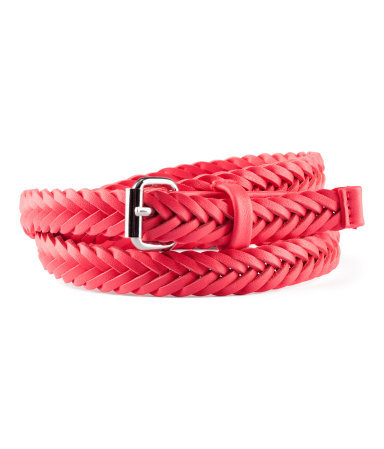 Belt - predominant colour: true red; occasions: casual, evening, work; type of pattern: light; style: plaited/woven; size: skinny; worn on: waist; material: faux leather; pattern: plain; finish: plain; embellishment: buckles; season: s/s 2013