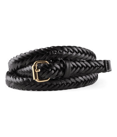 Belt - predominant colour: black; occasions: casual, evening, work; style: plaited/woven; size: skinny; worn on: waist; material: faux leather; pattern: plain; finish: plain; embellishment: buckles; season: s/s 2013