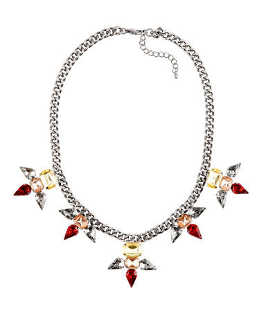 Necklace - predominant colour: silver; occasions: evening, occasion; length: mid; size: large/oversized; material: chain/metal; finish: metallic; embellishment: crystals/glass; style: bib/statement; season: s/s 2013